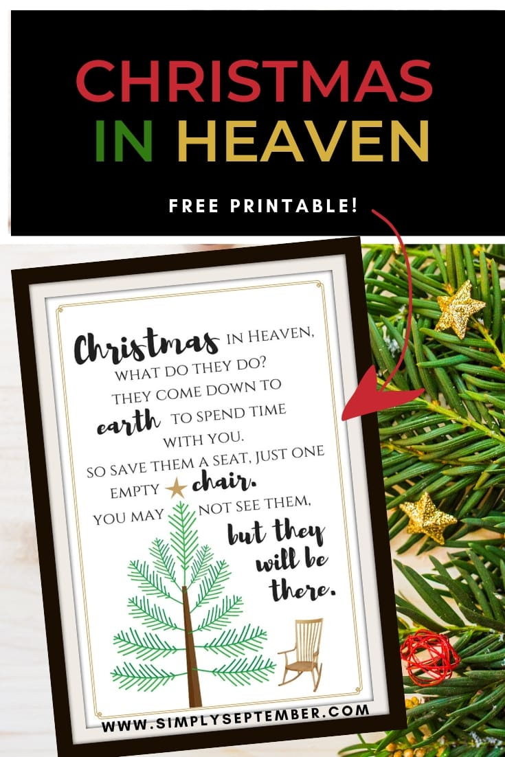 Christmas In Heaven Poem With Chair Printable.Free Christmas In Heaven Printable You Will Love Simply